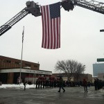 Steve Machcinski procession in front of Toledo Fire & Rescue Station 5.  Photo from Toledo 13abc